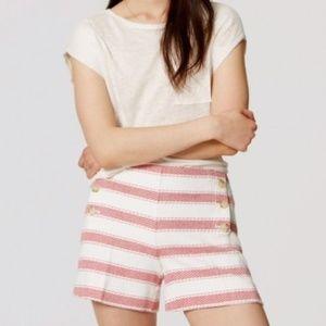 LOFT Riviera Red Striped Shorts